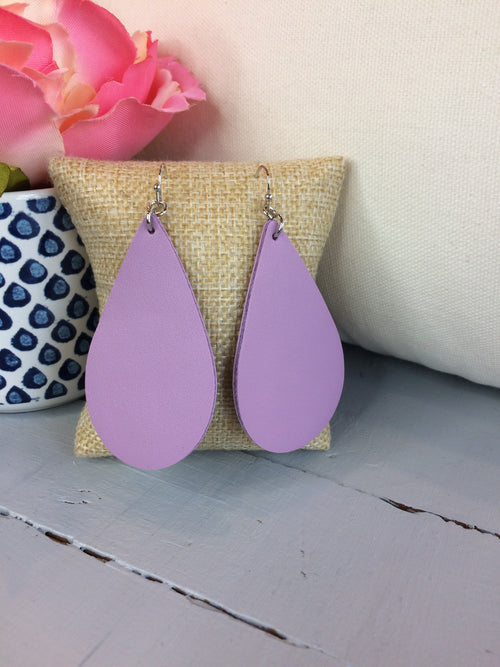 Come Around Tear Drop Faux Leather Earrings- Lavender