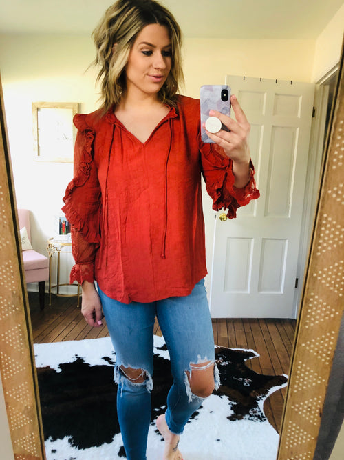Making Boss Moves Brick Blouse W/ Lace Sleeve