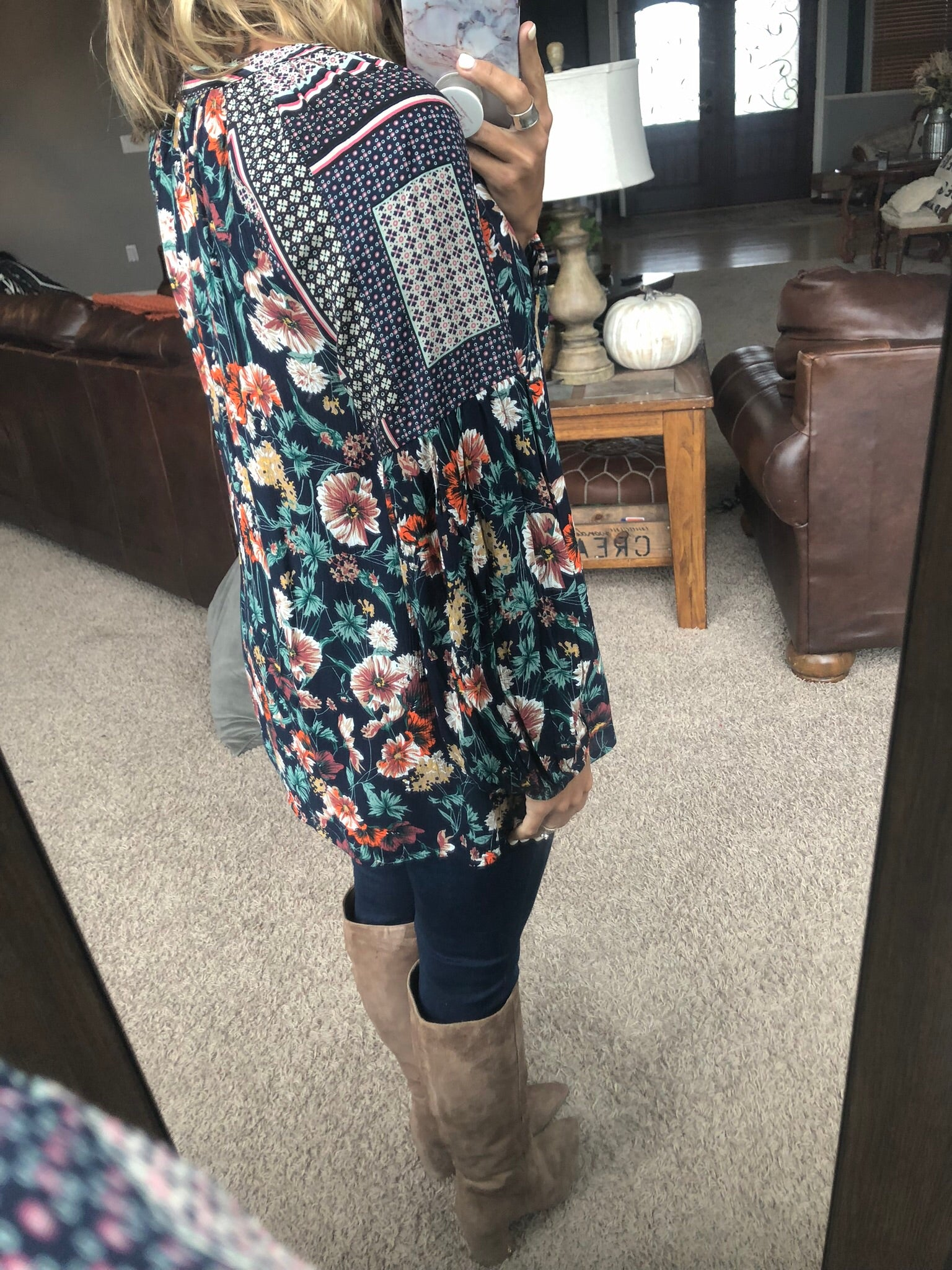 The Colors of Fall Floral Patterned Balloon Sleeve Blouse