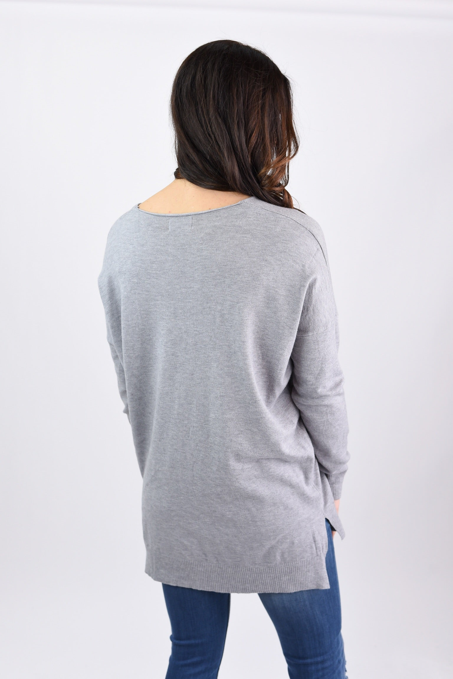 Try To Resist Exposed Seam Vneck Sweater-  Heather Grey