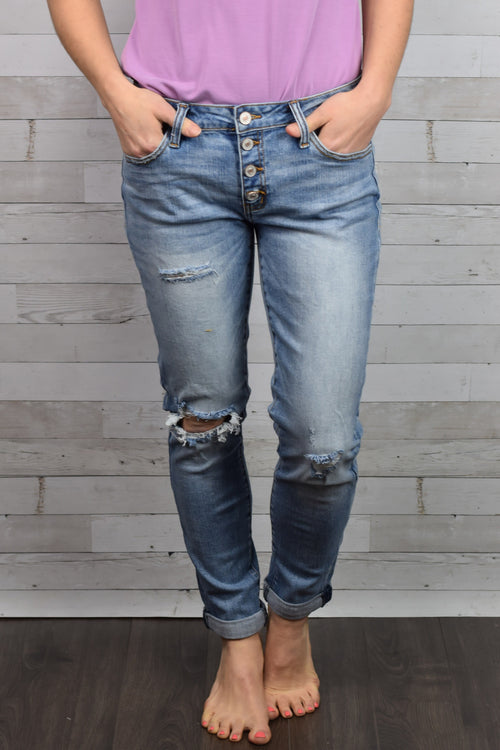 Johnny and June Boyfriend Distressed Skinny Jeans