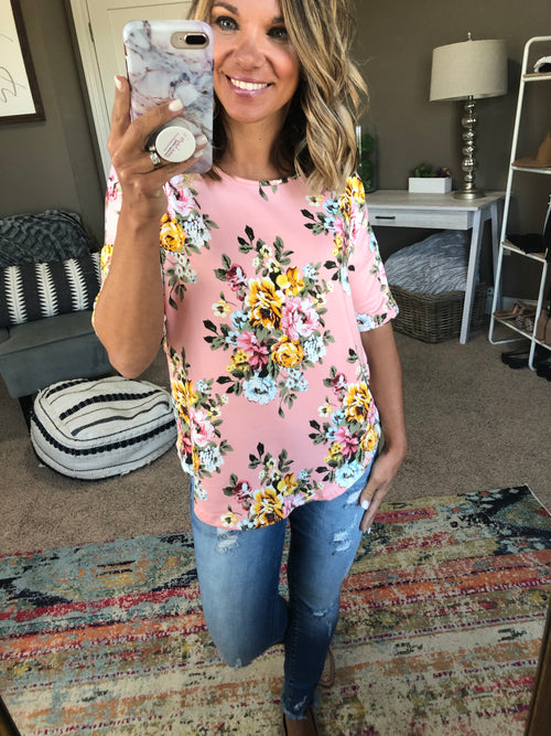 Ticket To Anywhere Pink Floral Mix Tee