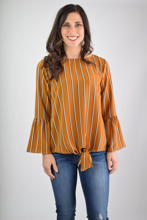 One In Millon Memories Mustard Stripe Front Tie Blouse