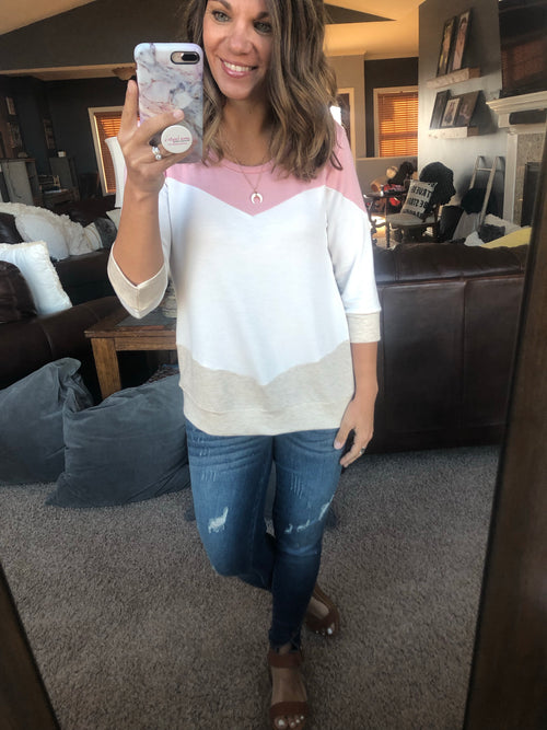 Walks At Sunset Pink, Ivory and Sand Chevron Color Block 3/4 Sleeve Top
