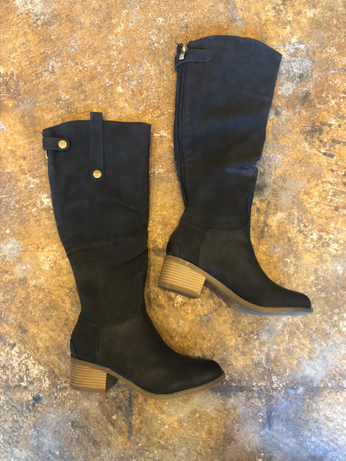 Love Is A Battlefield Black Knee High Faux Leather Boots