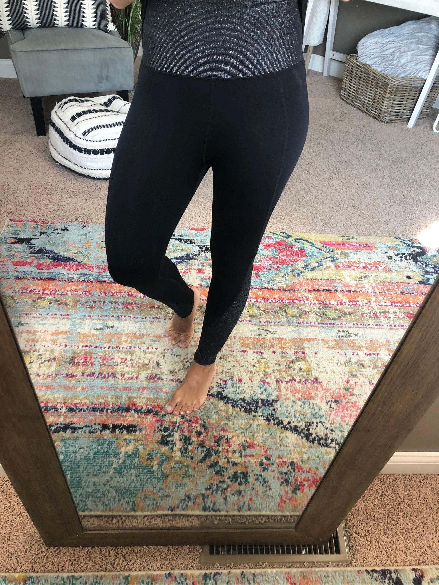 Add A Little Sparkle Black High Waisted Leggings with Glitter Band