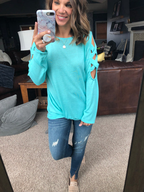 Good As It Gets Mint Front Twist Ladder Long Sleeve