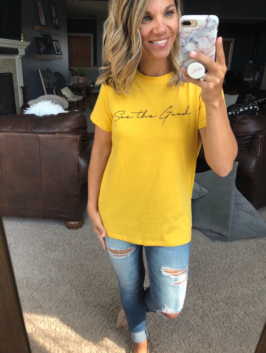 See The Good Graphic Tee- Sunshine Yellow