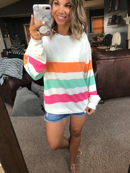 Lovefool Ivory Sweatshirt with Mango, Mint and Magenta Stripes