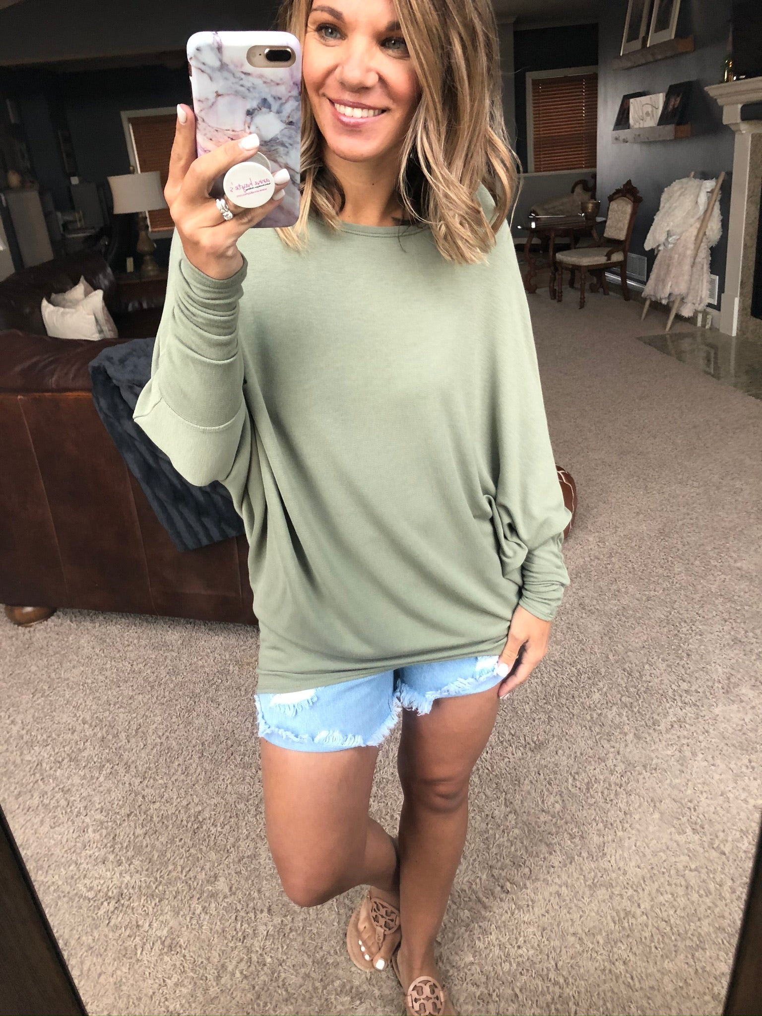 What She Wants Asymmetrical Dolman Long Sleeve- Olive