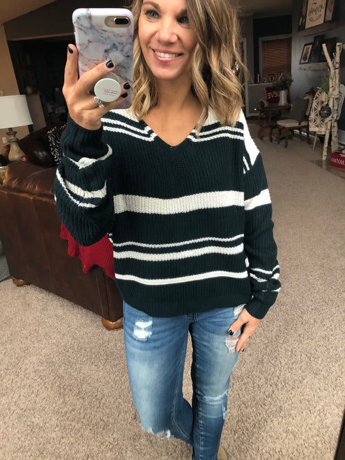Through The Night Back Tie Stripe Sweater- Teal
