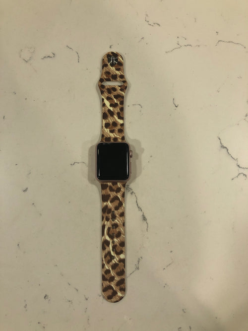 Time To Go Wild Tan Leopard Silicon Apple Watch Band