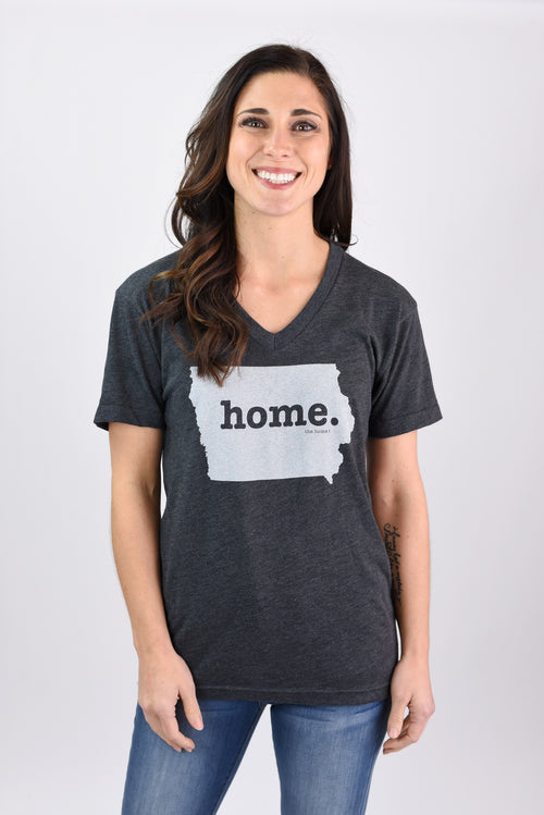 The Home Tee V Neck Charcoal Tee