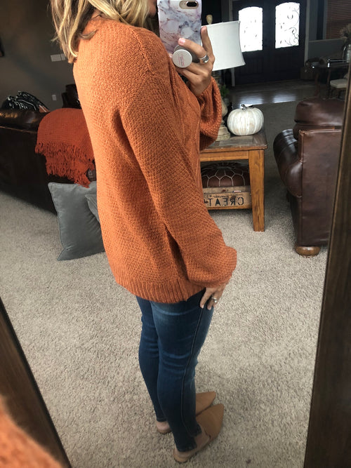 Won't Be Late Lightweight Loose Knit Sweater- Pumpkin