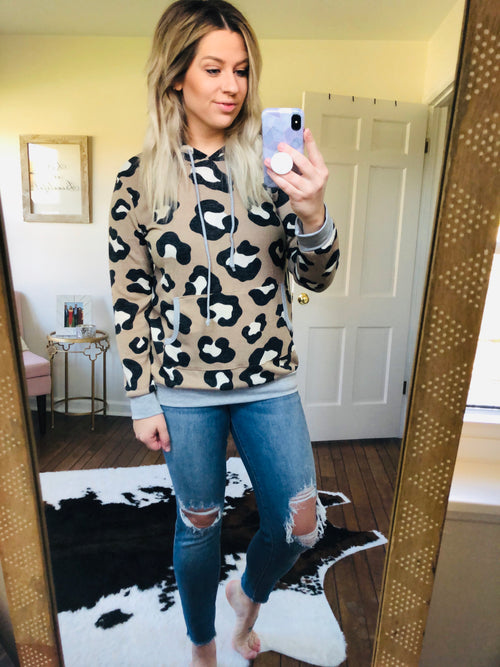 Don't Take It Purr-Sonally Leopard Knit Hoodie- Tan and Black