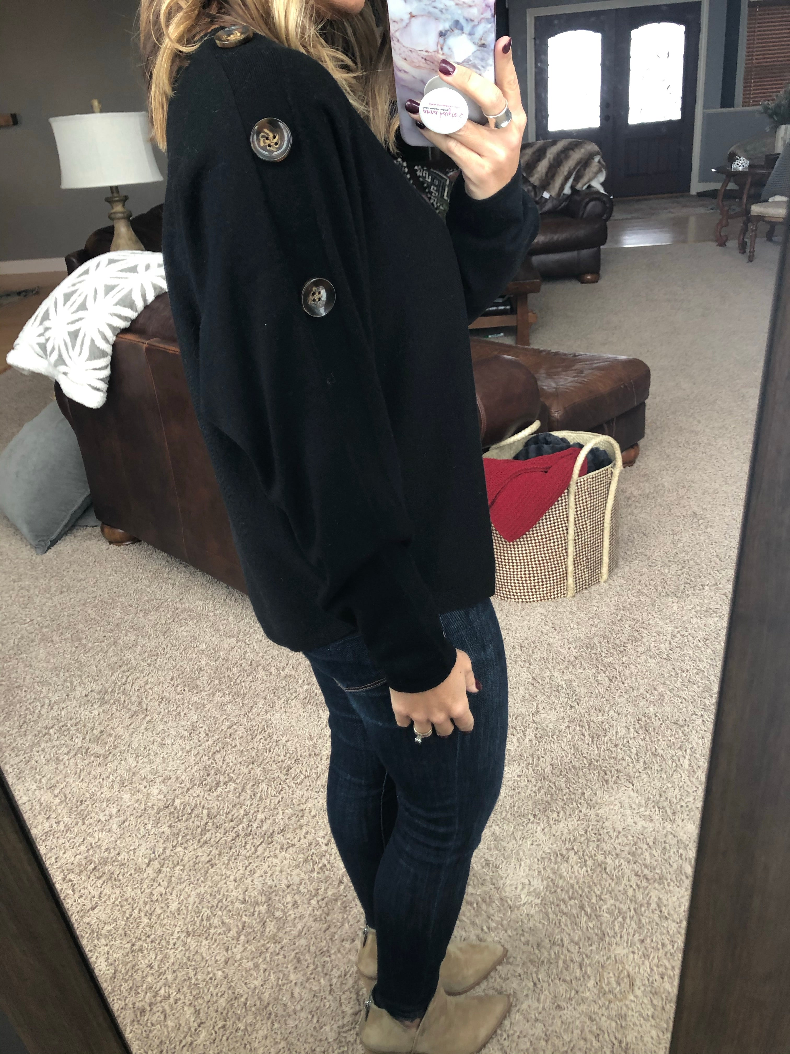 What Love Brings Black Sweater with Button Shoulder Detail