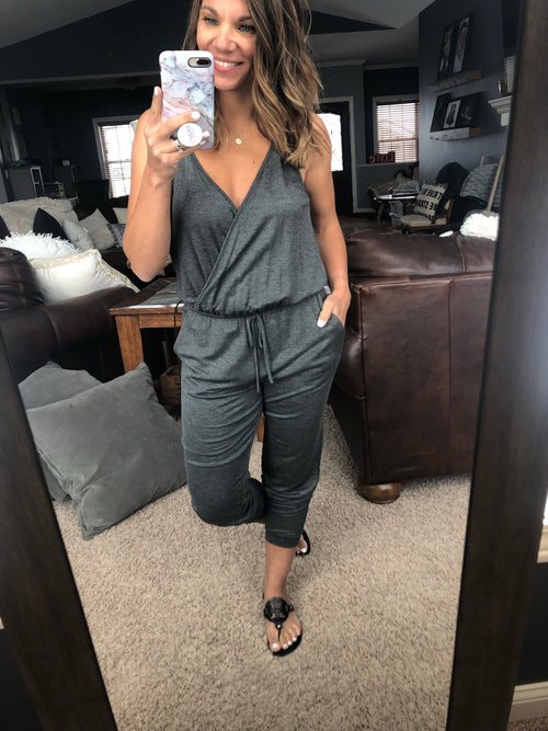 Empowered Cross Over Wrap Charcoal Jumpsuit
