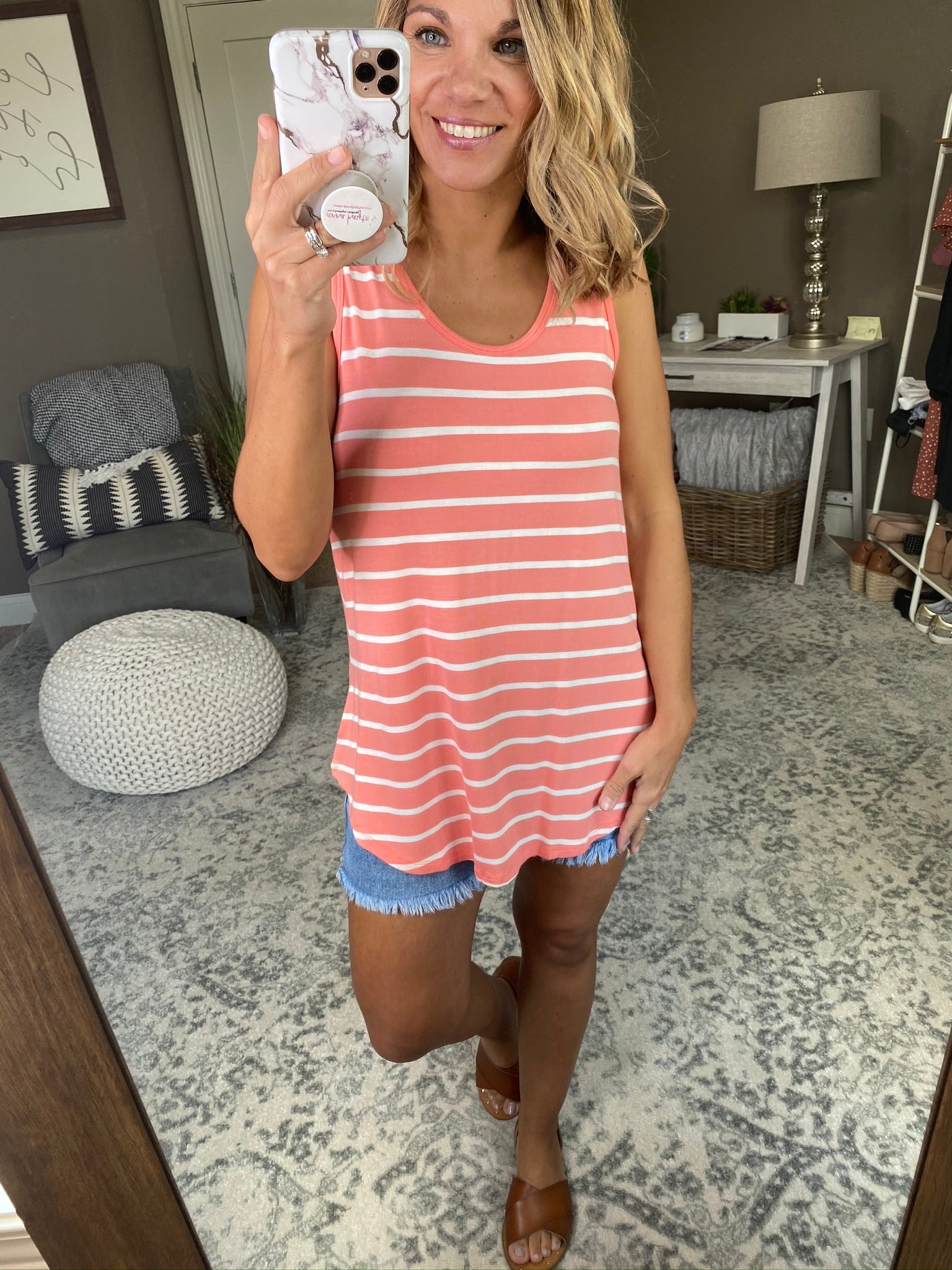 Keep Up Striped Scoop Neck Tunic Tank-Multiple Options