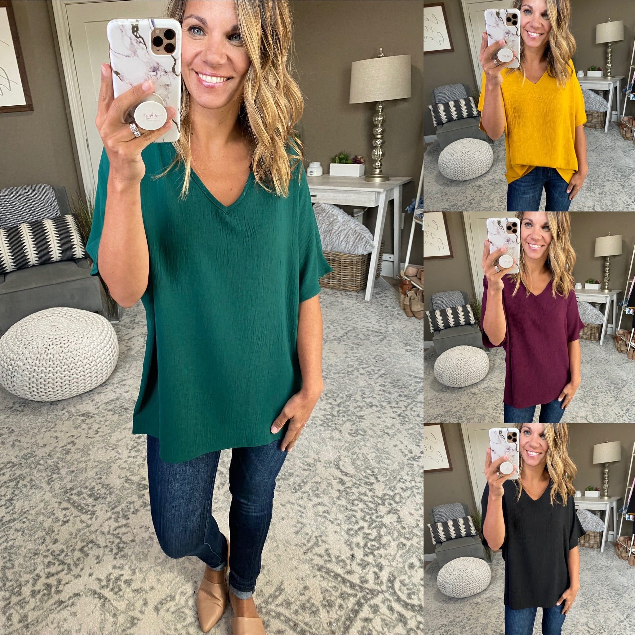 Open Your Eyes V-Neck Textured Tee - Multiple Options