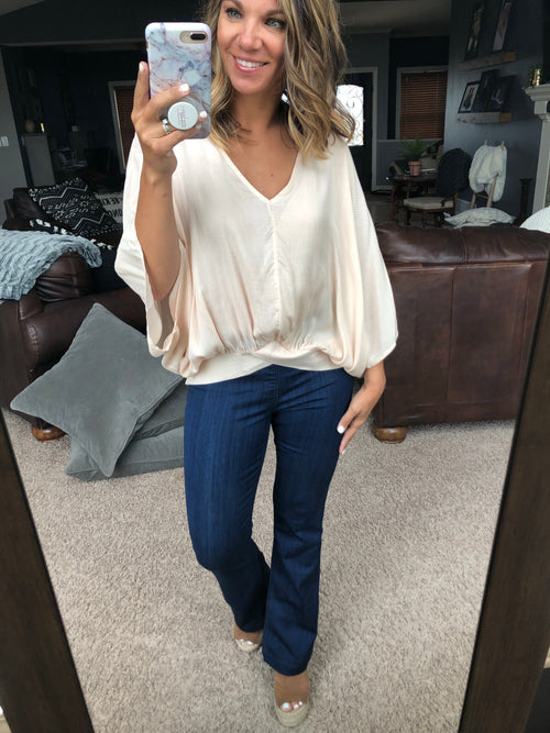 Happiness Is Key V Neck Textured Dolman Sleeve Tee- Taupe