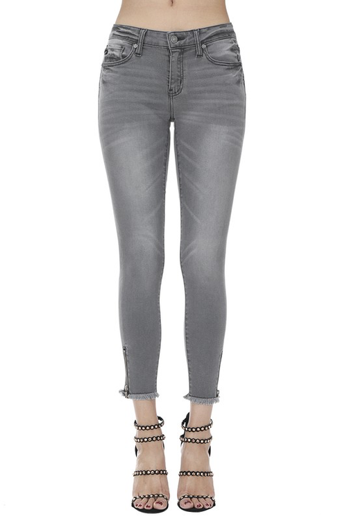Lets Go Out Tonight Charcoal Zip Raw Hem Skinny Jeans