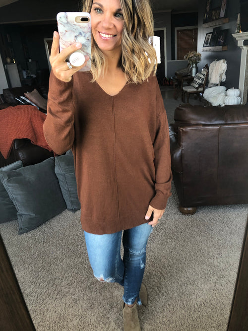 I Think I'm In Love Buttersoft V-Neck Exposed Seam Sweater- Brown