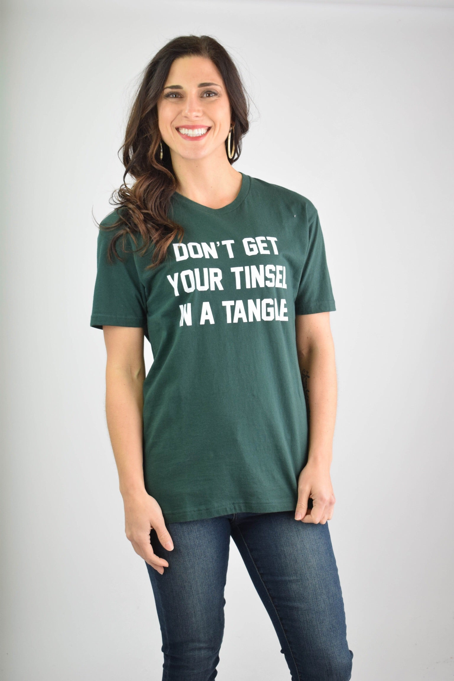 Don't Get Your Tinsel In A Tangle Graphic Holiday Tee