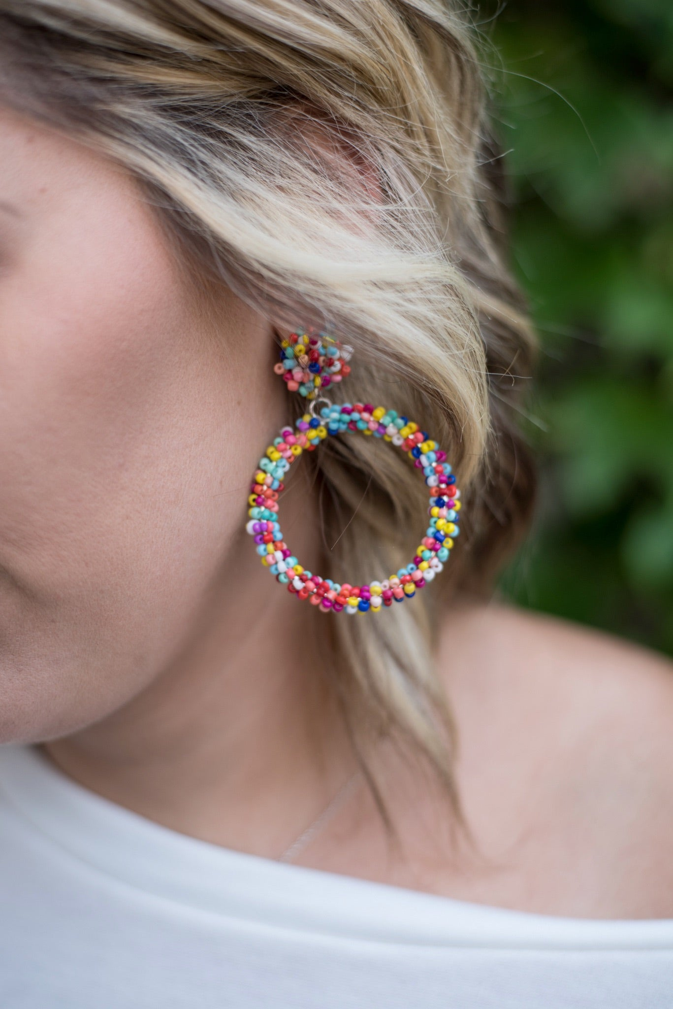 At The End Of The Rainbow Beaded Hoop Earrings