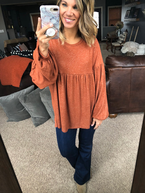 The Best Dream Rust Baby Doll Brushed Fleece Long Sleeve