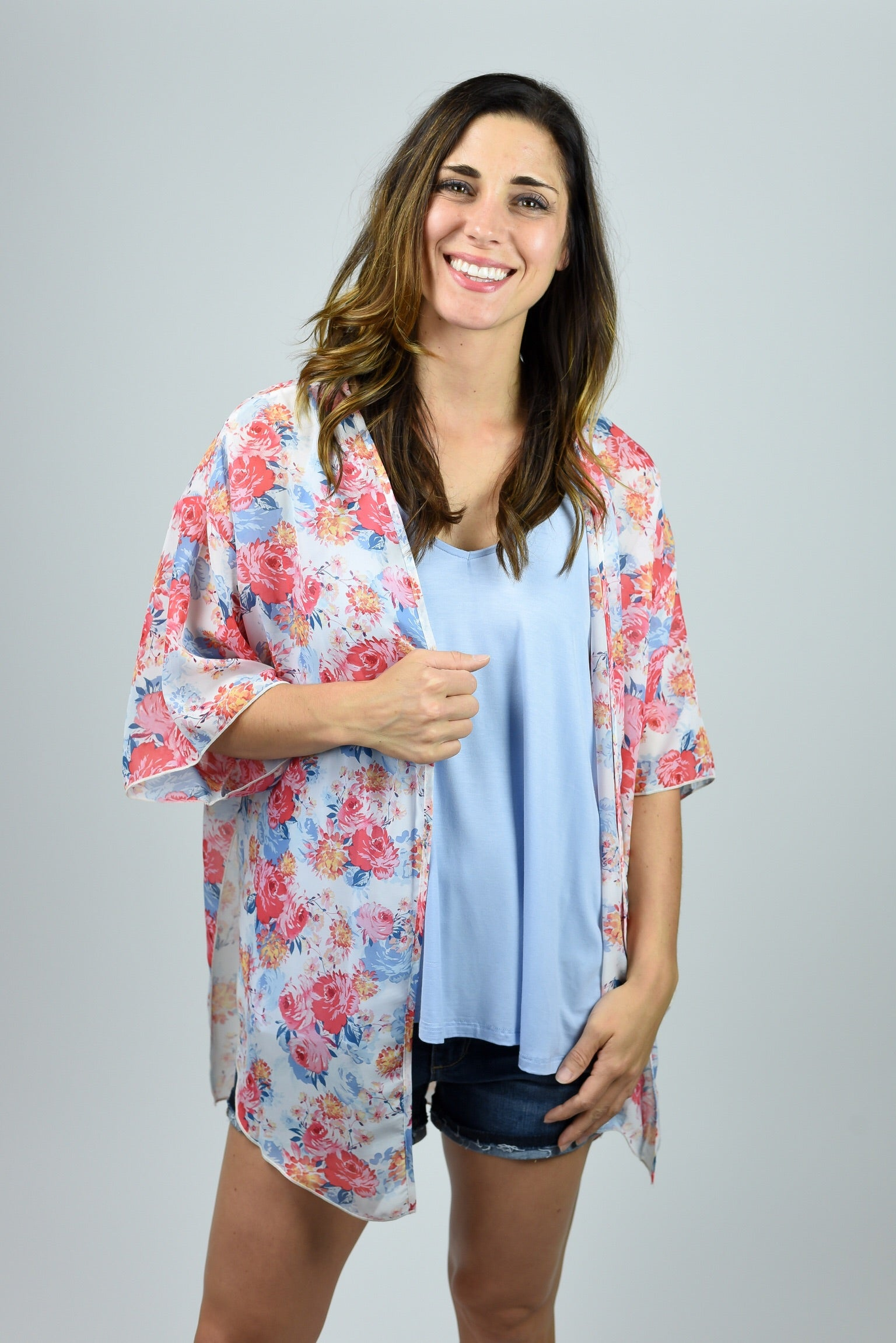 Blooming at Sunrise Floral Kimono
