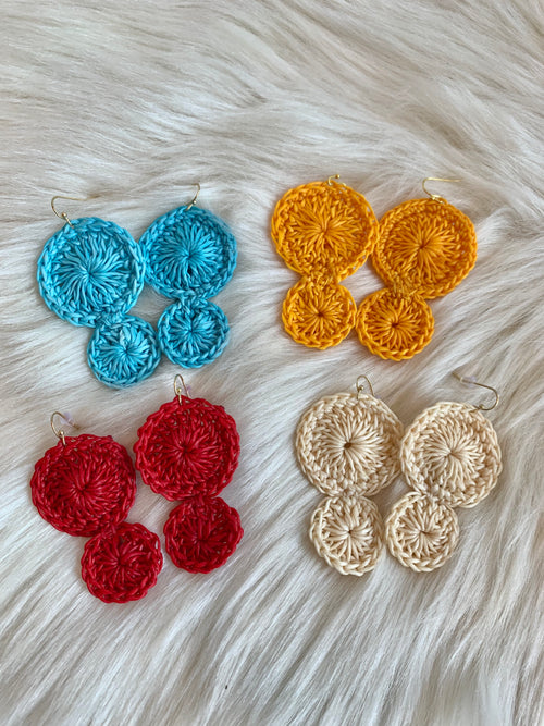 More To Love Woven Double Disc Earrings- Multiple Color Options