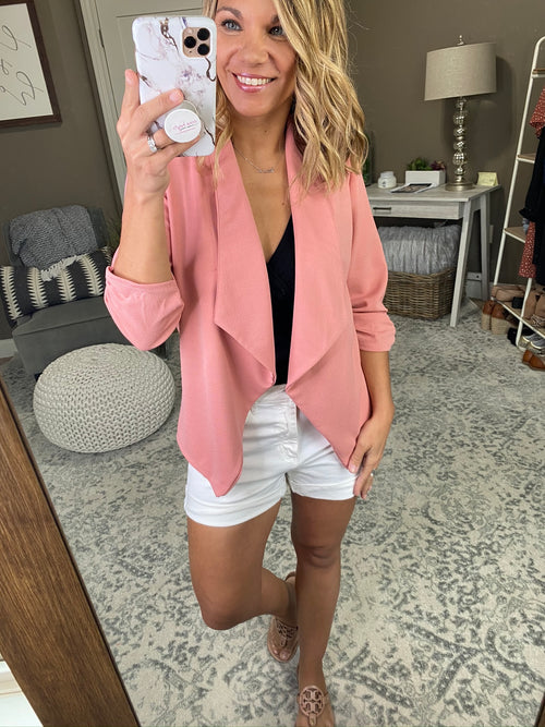 Independent Woman Open Front Blazer 3/4 Cinched Sleeve- Peach