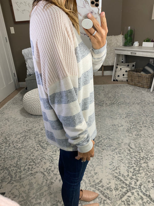 Best Of You Oatmeal & Light Grey Striped Brushed Fleece Sweater