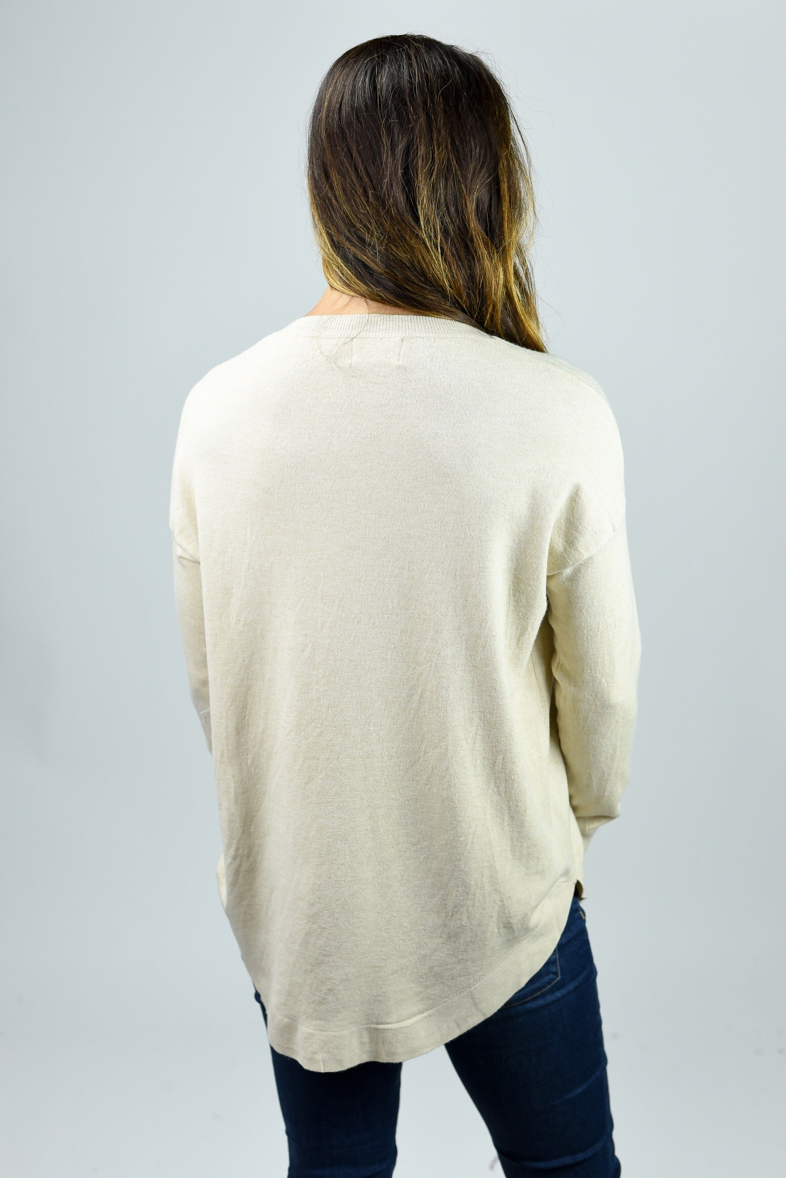 Only The Best Vneck Sweater- Oatmeal