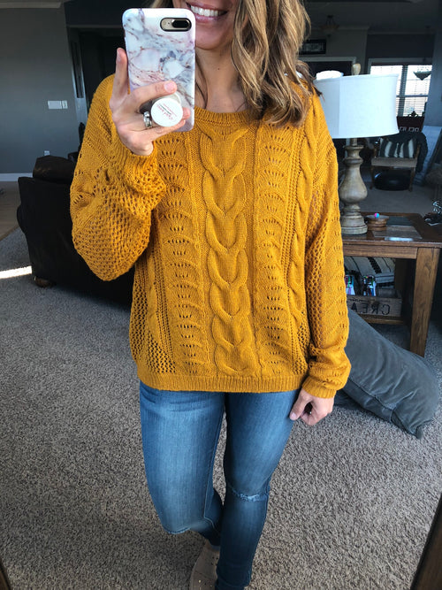 Blessing From Above Knit Sweater- Mustard