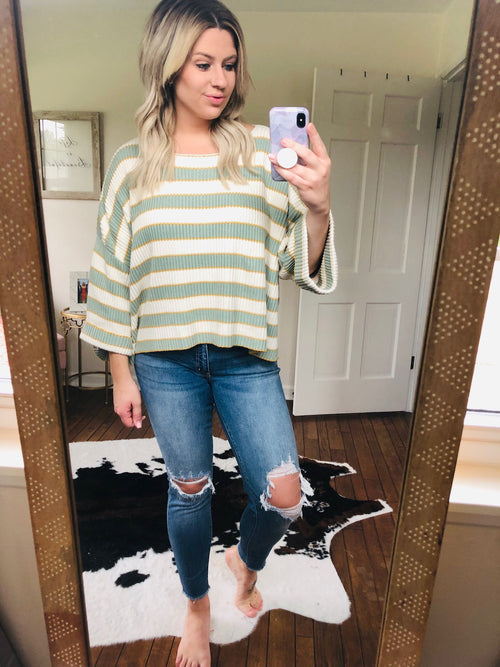 Never Too Late Sage & Gold Striped Oversized Sweater