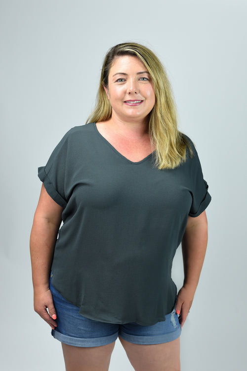 Such A Rush Vneck Curvy Cuffed Sleeve Tee- Charcoal