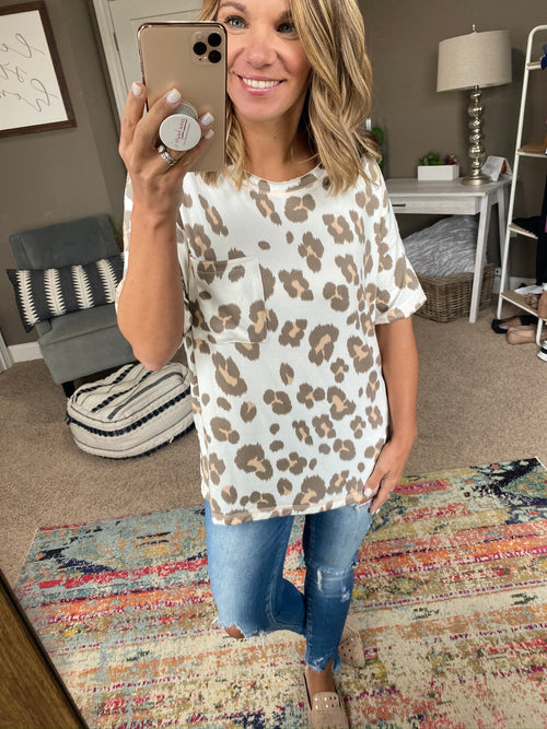 True To Trends Butter Soft Ivory & Cheetah Pocket Tee