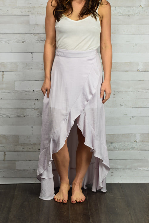 Looking Twice Lilac Wrap Skirt