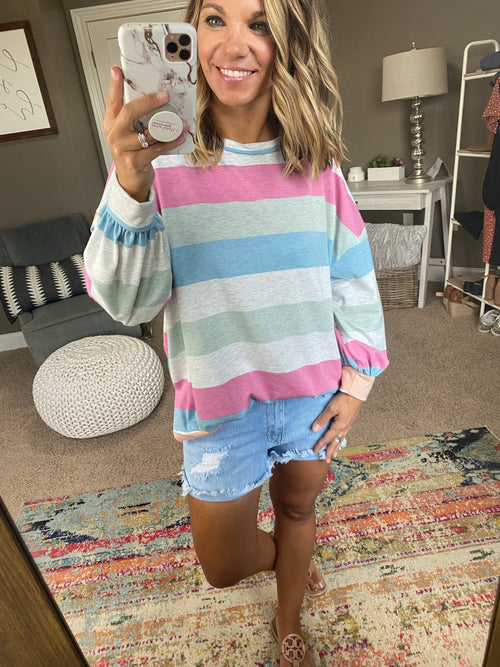 Good Prediction Vintage Wash Stripe Crew Sweatshirt with Split Hem- Pink, Blue, Green, Orange