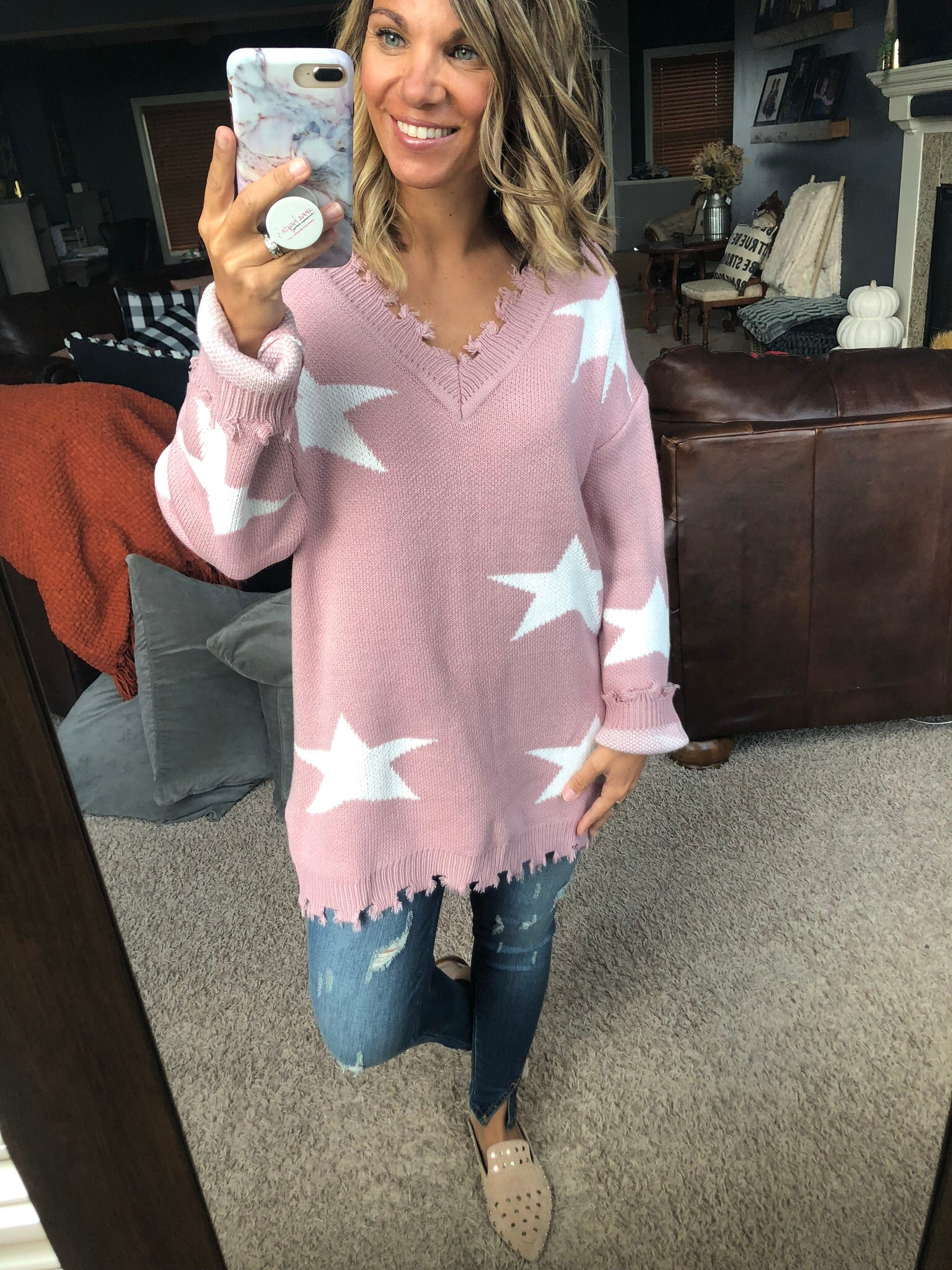 Be A Star Distressed V Neck Sweater- Mauve & Ivory