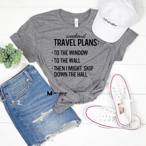 Travel Plans Heather Grey Graphic Tee