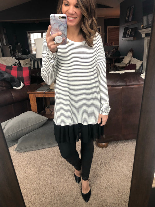 Lost On Saturday Night White and Black Long Sleeve w/ Chiffon Insert