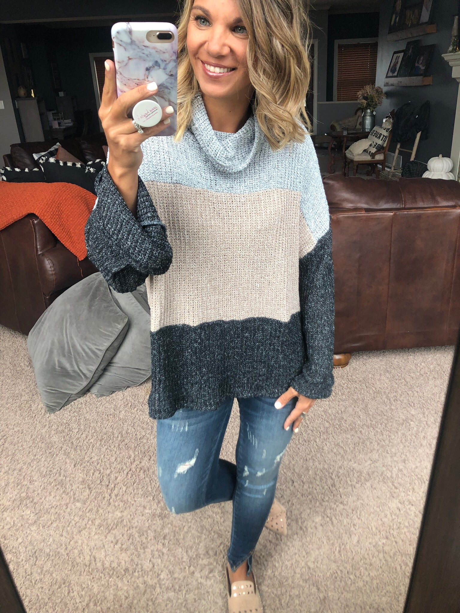 Too Late To Love Knit Color Block Turtle Neck Sweater