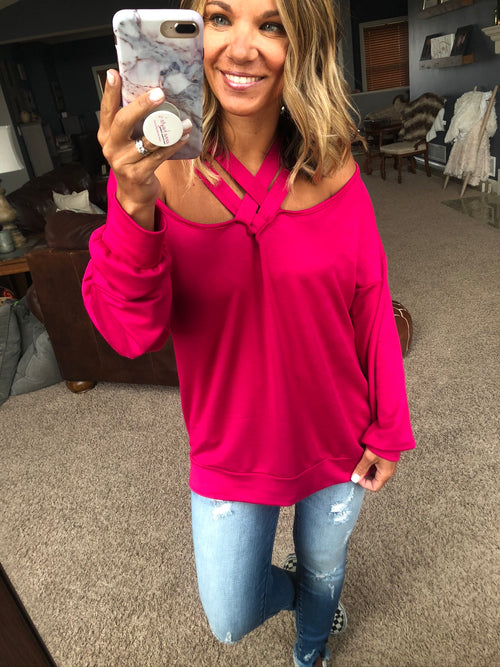 Across Town Long Sleeve with Criss Cross Neckline- Hot Pink