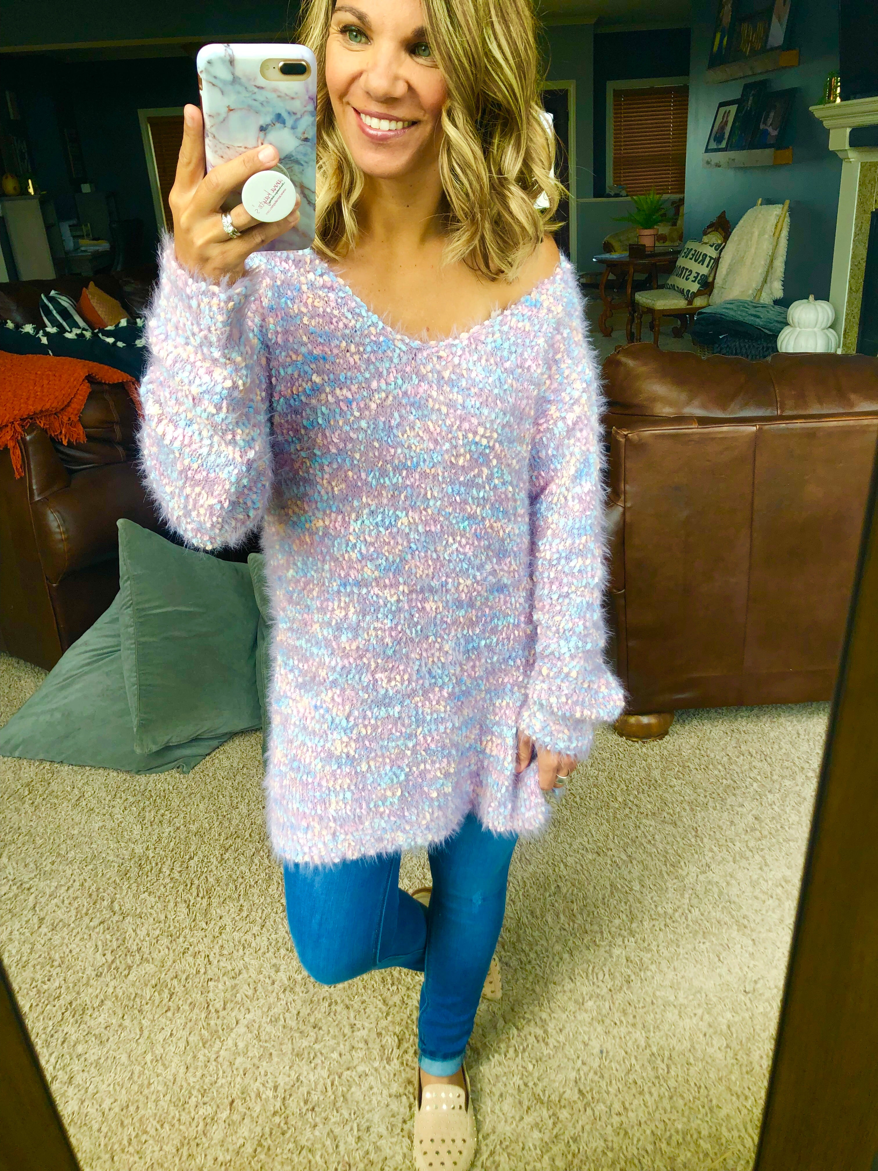 Cotton Candy Clouds Pastel Mix Popcorn Mohair V-Neck Tunic Sweater