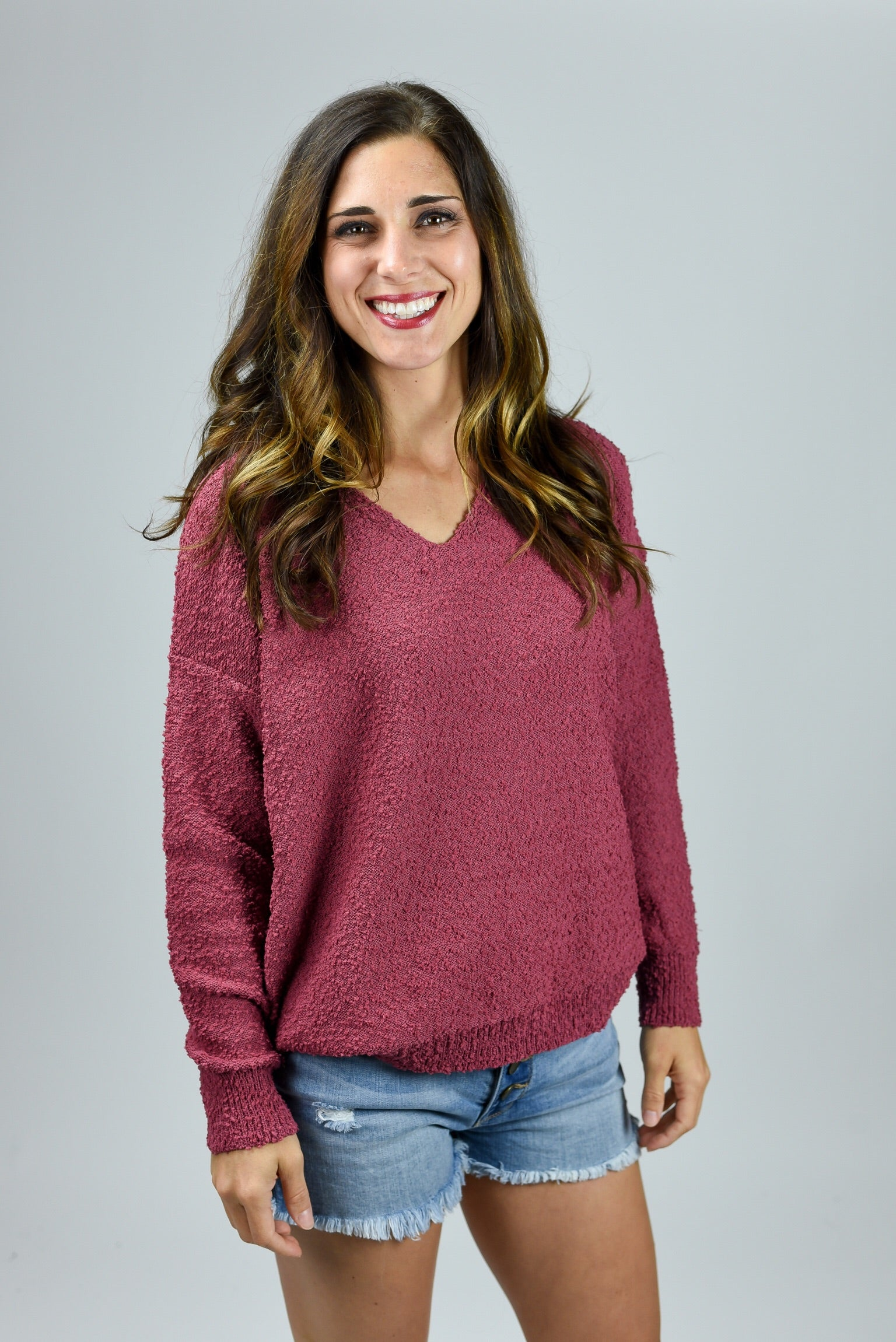 Mutual Feeling Vneck Berry Sweater