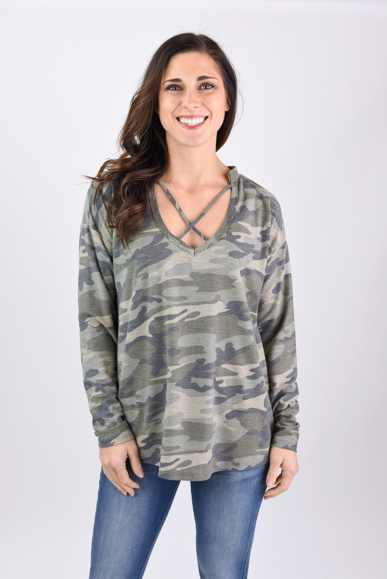 Love Wins Camo Criss Cross Long Sleeve Top