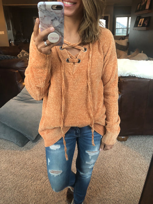 Meet You There Chenille Lace Up Sweater - Mustard