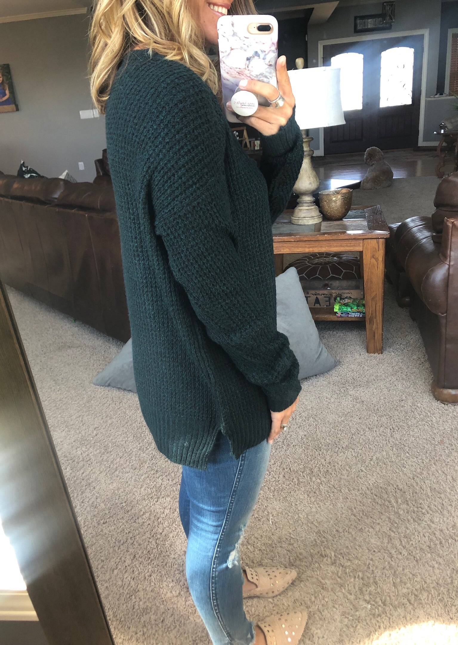 Show Me Fall Forest Green Waffle Crew Neck Sweater